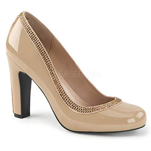 Pleaser Pink Label Women's Queen04/Crpt-Sa Slide Pump, Cream Patent-Cream Satin, 12 M US
