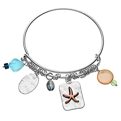 Sea Glass Starfish Charm Bracelet Jewelry with Swarovski Crystal and Mother of Pearl