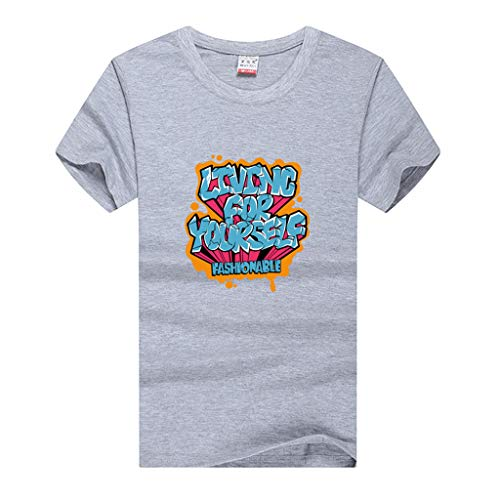 (TOPUNDER Men Fashion Solid Printing Style Cotton Design T-Shirt Casual Shirts Tops Blouse Gray)
