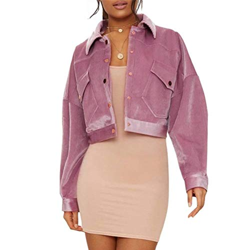 Coat Turn Pocket Collar Down YEMOCILE Lapel Pink Crop Bomber with Women's Jacket w58ZZqg