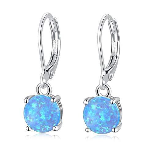 CiNily Christmas Jewelry Gifts Round-Cut Opal Dangle Earrings, Blue/White/Pink Fire Opal Rhodium Plated Women Jewelry leverback Gems Drop Earrings