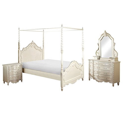 HOMES: Inside + Out 4 Piece ioHOMES Jazmin Fairy Tale Canopy Bed Set, Twin, Pearl White - 4 Piece Twin Canopy