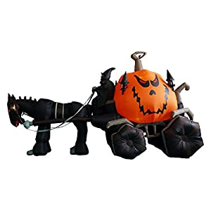 11.5 Foot Long Inflatable Grim Reaper Driving Pumpkin Carriage