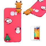Cute Cartoon Case For Samsung Galaxy S6 Edge,Funyee Stylish 3D Christmas Deer Design Ultra Thin Soft TPU Silicone Case for Samsung Galaxy S6 Edge,Anti-scratch Rubber Durable Shell Smart Phone Case with Free Screen Protector,Red