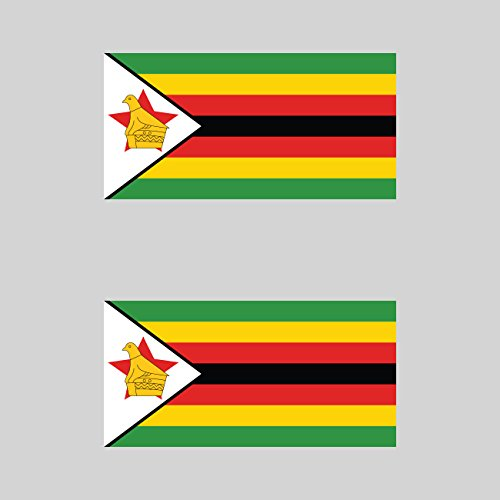 Two Pack Zimbabwean Flag Sticker FA Graphix Decal Self Adhesive Vinyl Zimbabwe ZWE ZW