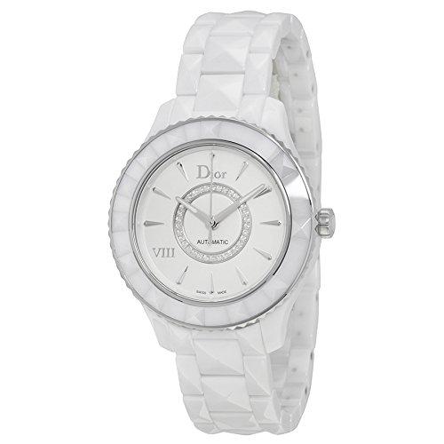 Christian Dior White Bracelet - Dior VIII Diamond Automatic White Ceramic and Stainless Steel Ladies Watch CD1245E3C002