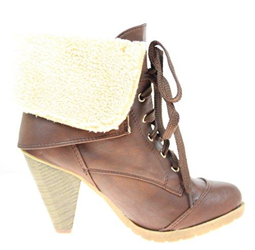 Bottines chaussures de couleur marron avec col en fourrure lacets