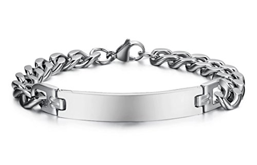 Free Engraving Stainless Steel ID identification Link Bracelet Bangle for Women,Width 8mm,8.4'' by VNOX