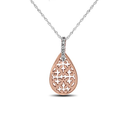 Drop-of-Lace Filigree Diamond Pendant, 14kt Rose Gold Diamond Filigree Pendant Necklace