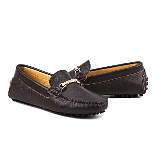 AUSLAND Womens Loafers, Round Toe Leather Moccasins Coffee