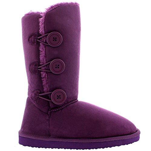 Purple Triplet Tall Button Boots Classic Rain Womens Snow Winter Pq8wEqSd