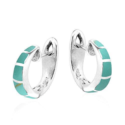Earrings Green Huggie (Simple Elegance Simulated Turquoise Inlay .925 Sterling Silver Huggie Earrings)