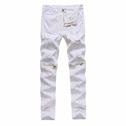 kaifongfu Denim Pants,Men's Stretchy Ripped Skinny Biker Jeans Destroyed Taped Slim Fit Denim Pants Men (30, White)