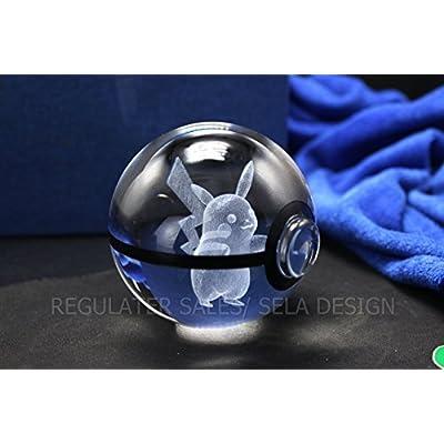Sela Design. Multiple Designs Pokemon Go inspired Laser K9 crystal Engraved-LED rotating base. Base changes color toy nightlight lamp (Venusaur): Toys & Games