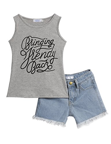 Arshiner Toddler Baby Kids Girls Summer 2PCS Sets Outfits Sleeveless Shirt Vest Tops + Denim Shorts Jeans (Pretty Girl Outfits)