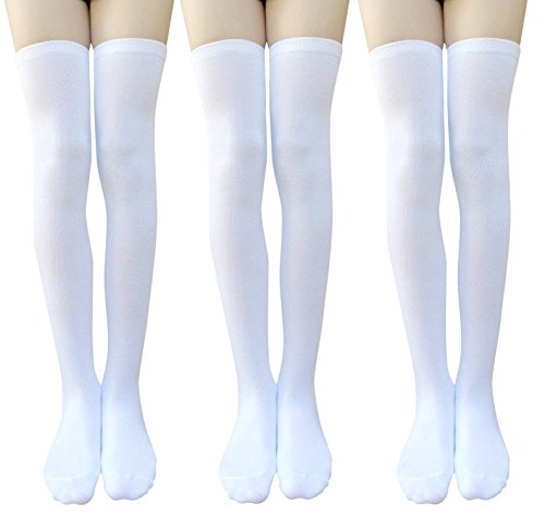 AM Landen Girls Wool-Blend Over Knee Thigh High Socks Stockings(White-3 Pairs)