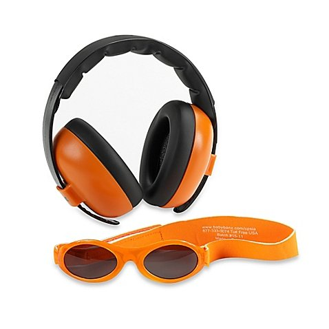 Foam Earmuffs - Baby Banz Earmuffs Infant and Toddler Hearing Protection Headphones - Packaged with BANZ Sunglasses Ages 0-2 Years - Ultimate Child Ear and Eye Protection - Stop Noise - Block Sun (Orange)