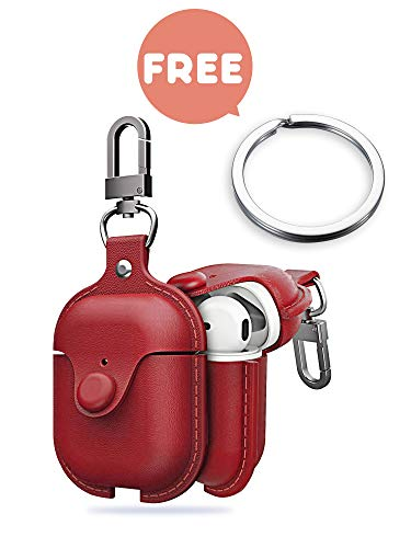 Premium Leather Airpods Case Cover with Keychain, Portable Shockproof Cover Skin for airpod Earphones Protective Cases Charging Case with Carabiner [Red] (Burberry Key Case)