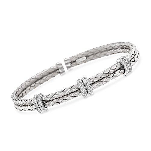 Ross-Simons 0.50 ct. t.w. Diamond Basketweave Cuff Bracelet in Sterling Silver
