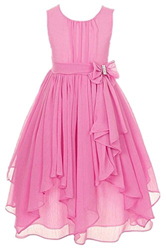 - YMING Kids Big Girls Chiffon Asymmetric Ruffled Party Flower Girl Dress Pink 11-12Years