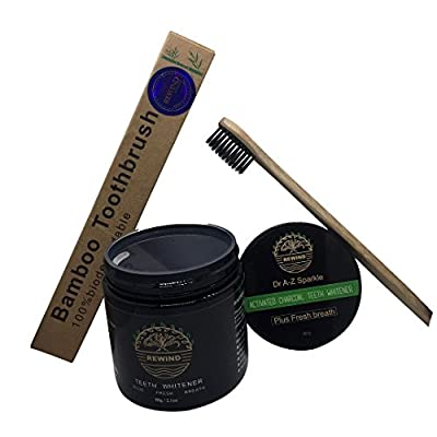 Activated Charcoal Natural Teeth Whitening Powder, Proven Safe For Enamel, Stains Remover Dentist Bundle FREE Eco friendly Bamboo toothbrush Large Jar 60g/2oz