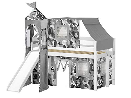 JACKPOT! Castle Low Loft Bed with Slide Gray Camo Tent and Tower, Loft Bed, Twin, White