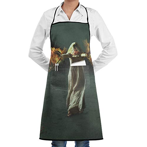 Fantasy Halloween Fallen Angel Girl Bounded By Chains BBQ Waiter Housekeeper Pet Grooming Bartender Kitchen Beautician Hairstylist Nail Salon Carpenter Shoeing Wood Painting Artist Pocket Apron -