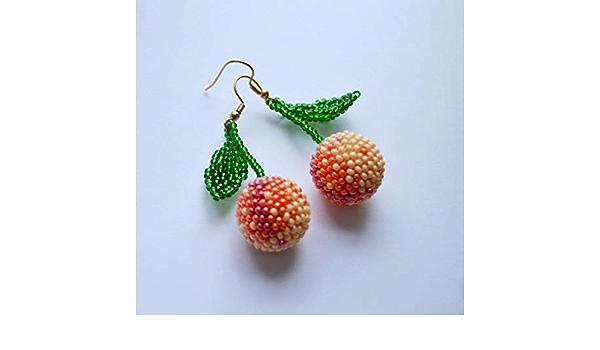 Peach Bead Beach themed Dangle Earrings