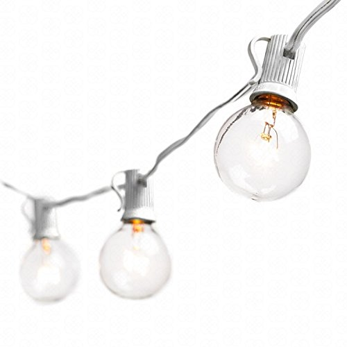 Globe String Lights with G40 Bulbs (25ft.) Connectable Outdoor Garden Party Patio Bistro Market Cafe Hanging Umbrella Lamp Backyard Lights 100% Guarantee on Light String (White) (White Incandescent Two Light)