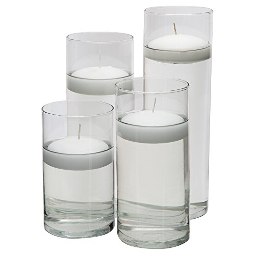 Glass Cylinder Vases - SET OF 4 - Including 4 FLOATING DISC CANDLES, Decorative Centerpieces For Home or Wedding by Royal Imports (Aluminum Fluted Columns)