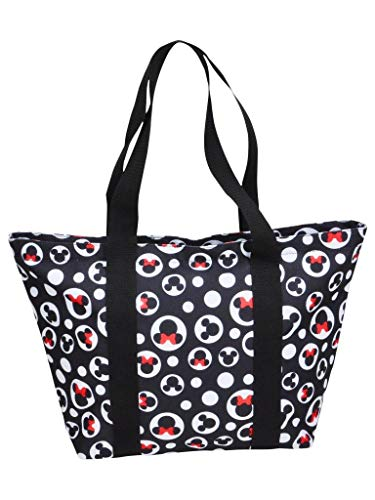 Disney Tote Mickey & Minnie Mouse Icon Polka Dot Print Travel Beach Bag Black]()