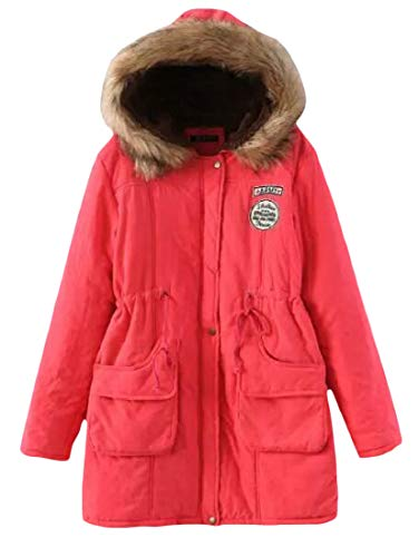 Parkas Fit Coat Thicken Red Slim Faux Watermelon Fleece amp;E Womens Hooded Fur Collar Winter H Pt7vqv
