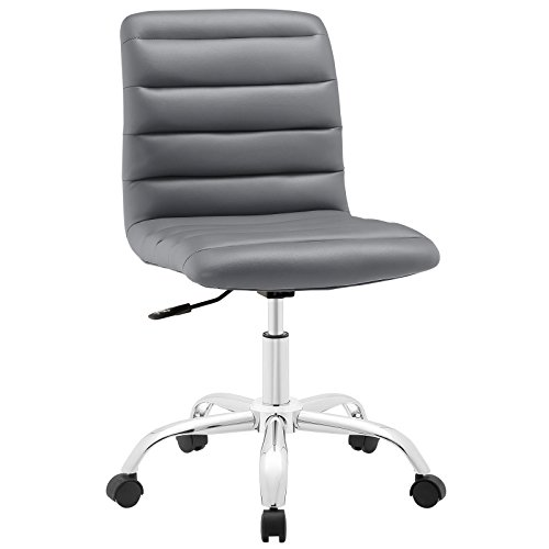 Modway Ripple Ribbed Armless Mid Back Swivel Computer Desk Office Chair In Gray