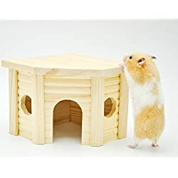 Niteangel Wooden Hamster House, Small Animal Nesting Habitat