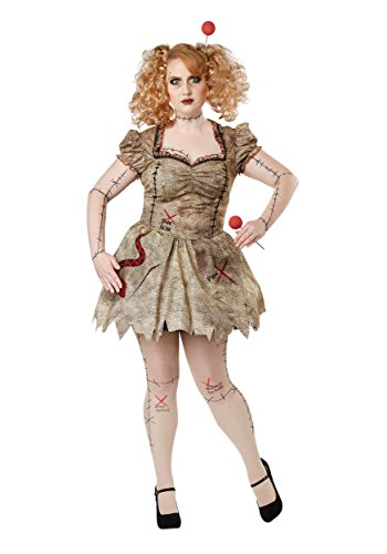 California Costumes Women's Size Voodoo Dolly Adult Woman Plus Costume, tan 3X Large ()