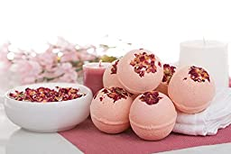 Bloom Bath Bombs Set - Pack of 6 Luxurious Herbal Bath Fizzies - Artisan, Handmade, Spa Experience - With Natural Oils and Butters