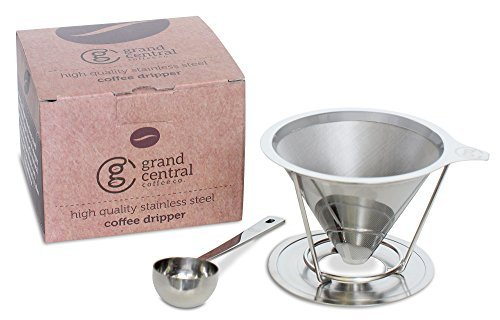Pour Over Coffee Dripper with FREE Scoop and eBook Brewing Guide by Grand Central Coffee Co. - Stainless Steel Fine Mesh Reusable Paperless Filter 2 Cup Cone and Stand