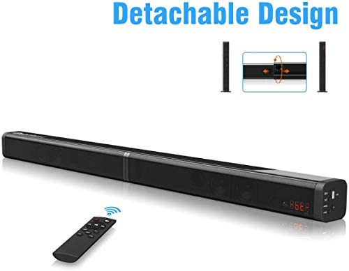 Sound Bar Excelvan 40W Detachable Wireless Soundbar with Built-in Subwoofer, AUX Cable and Optical Cable, USB Input, TF Card Slot, Remote Control for TV PC Tablet Smartphone