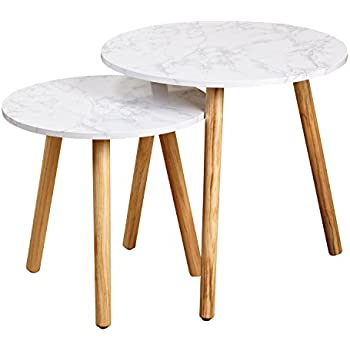 Target Marketing Systems Darcy Collection Mid Century Modern Set Of 2  Laminated Faux Marble Nesting Tables