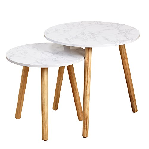 Faux Marble Accents (Target Marketing Systems Darcy Collection Mid Century Modern Set of 2 Laminated Faux Marble Nesting Tables)