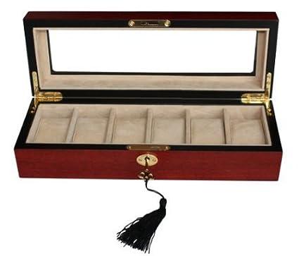 ebe1ef065 Sodynee Elegant 6 Piece Wood Watch Box Display Case and Storage Organizer  Jewelry Box, Cherry
