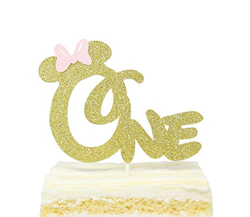 First 1st One Year Birthday Cake Topper - Gold Glitter Minnie Mouse Bow Birthday Cake Topper -