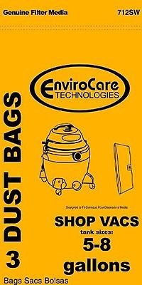 Shop Vac Paper Bags-3PK-Fits All Tank Sizes 5-8 Gallon Replacement, New