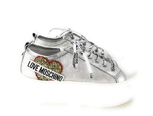 Bianco Glitter Snakers Love Donna Moschino rCtqt7I
