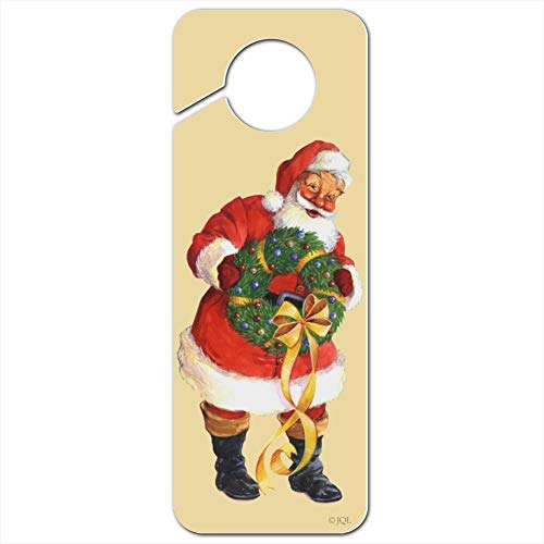 GRAPHICS & MORE Christmas Holiday Santa Holding Wreath Plastic Door Knob Hanger Sign - Image