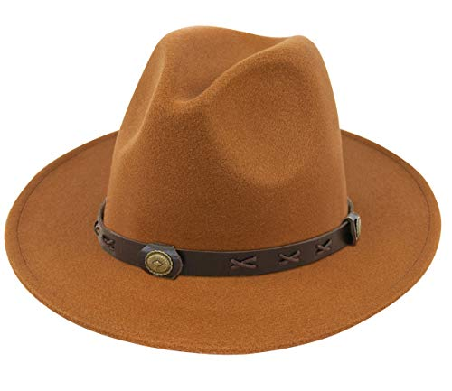 (Lanzom Women Wide Brim Warm Wool Fedora Hat Retro Style Belt Panama Hat (Y-Khaki, One Size) )