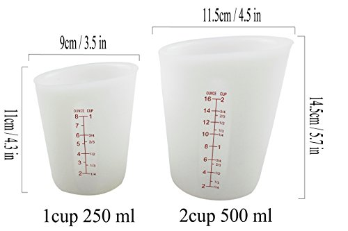 Silicone Measuring Cups 1 Cup&2 Cup, Flexible Squeeze and Pour Measuring Cup BPA Free& FDA Standard Clearly Marking Cup/Ounce/ML