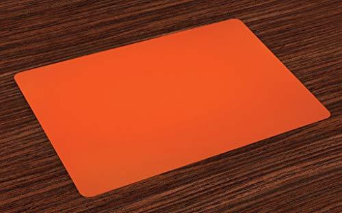 Ambesonne Orange Place Mats Set of 4, Plain Background Illustration with Warm Hot Colors Retro Style Bohemian Design Artwork, Washable Fabric Placemats for Dining Room Kitchen Table Decor, Orange (Orange Kitchen Table)