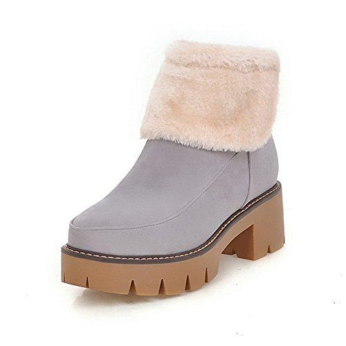 AgooLar Women's Blend Materials Assorted Color Zipper Round Closed Toe Kitten-Heels Boots Gray CsyCfdRd