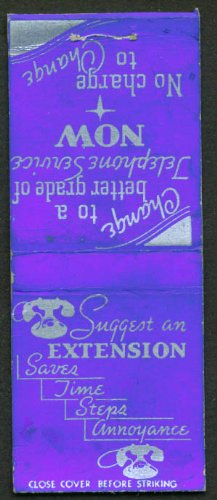 Telephone Extension Bell - Bell Telephone Get an Extension matchcover 1940s